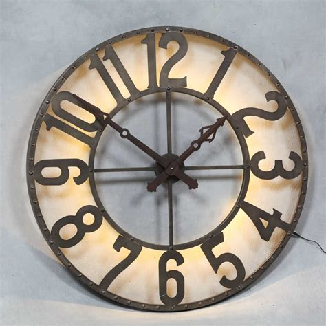 industrial wall clock large steunk industrial back illuminated