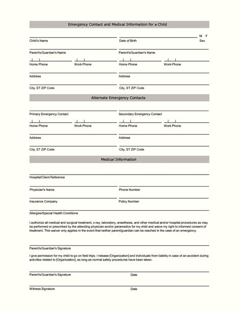 personnel form template employee emergency contact form template template