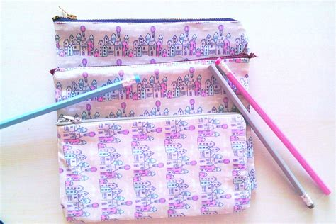 Handmade Fabric - diy no sew pencil pouches with my handmade fabric