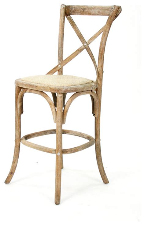 Farmhouse Bar Stool by Parisienne Cafe Counter Stool Limed Grey Oak