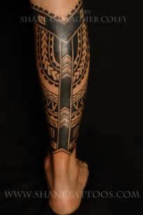 shane tattoos polynesian calf tattoo