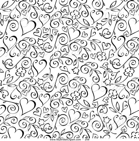 heart vine pattern bridal clipart of a background of black floral vine and
