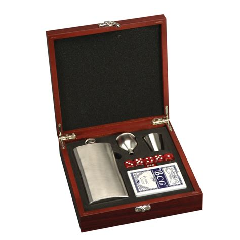 Gifts For The Office Desk Personalized Flask And Card Set In Rosewood Box