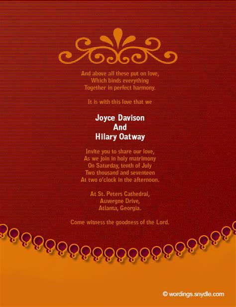 christian wedding template christian wedding invitation wording sles wordings