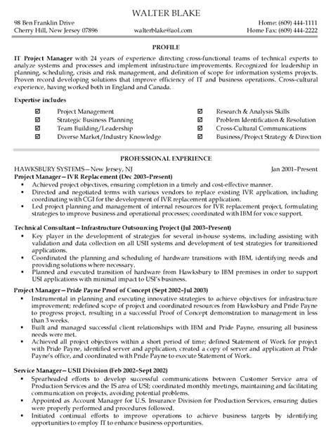 project management resume exles project management functional resume resume ideas