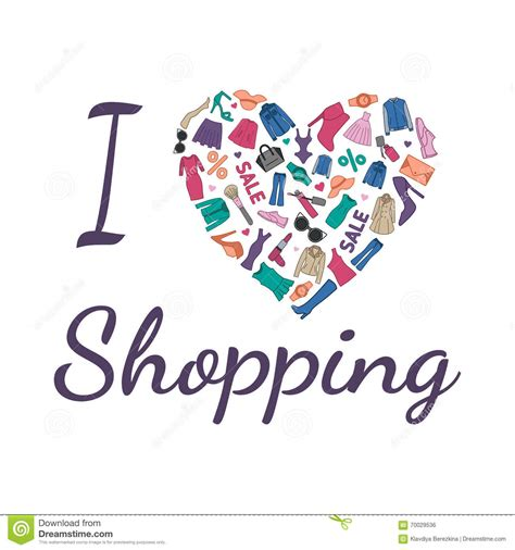 imagenes fashion love i love shopping illustration heart is composed of