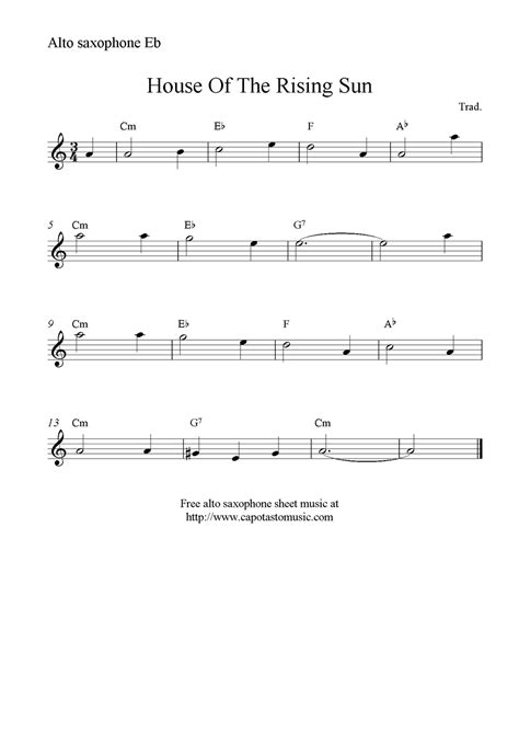 where can i download house music for free house of the rising sun free alto saxophone sheet music notes