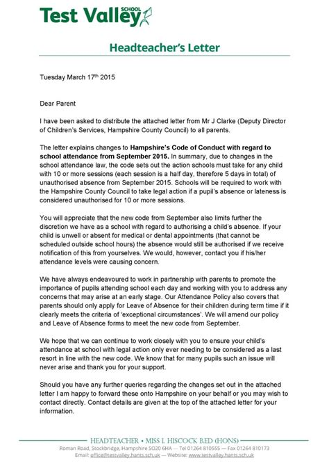 Parent Governor Vacancy Letter Test Valley School Headteacher S Letter March 2015