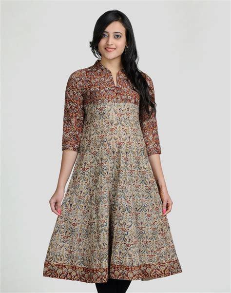 pattern of long kurta cotton kalamkari anarkali mirror work long kurta made in