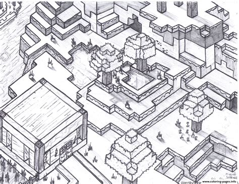 Minecraft World For Free Coloring Pages Printable