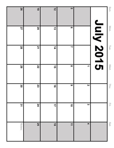 2015 monthly calendar template july 2015 calendar printable template big size 6 templates