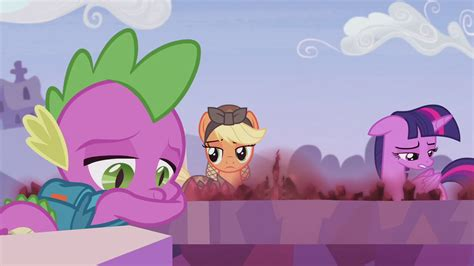 my little pony spike and applejack image applejack looking at twilight and spike s5e25 png