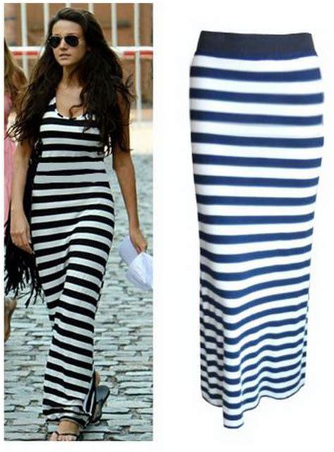 Stripe Maxi Skirt Et Cetera blue and white striped maxi dress