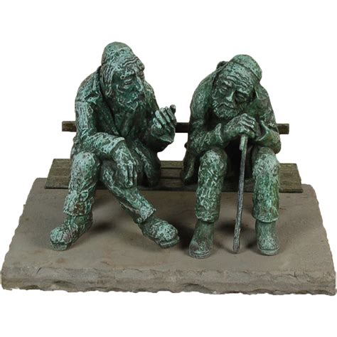 chabad benching large nicky imber bronze sculpture two old jewish men talking on park from