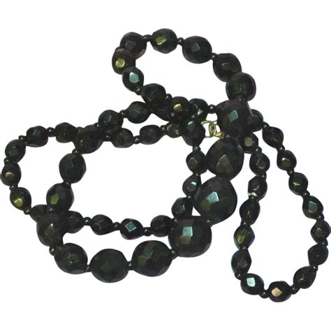 black jet bead necklace black faceted glass jet graduated bead necklace
