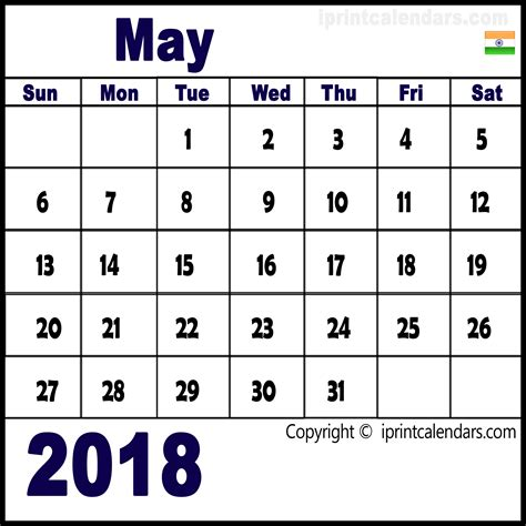 2018 calendar template pdf indian may 2018 calendar india templates tools