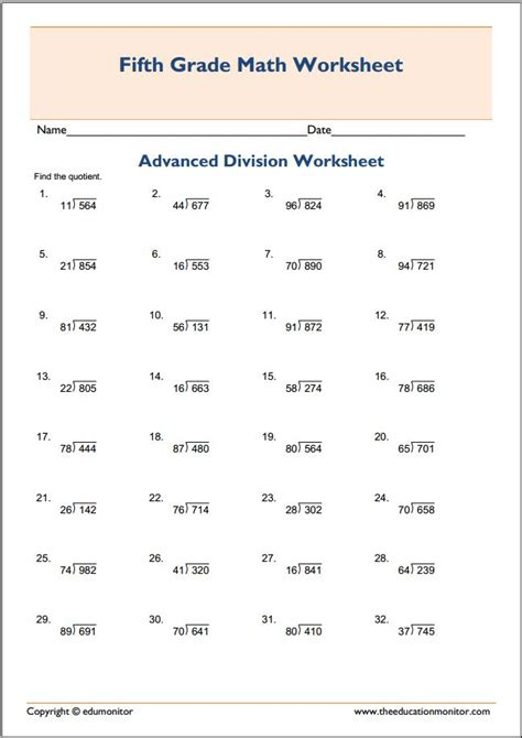 Advanced Algebra Worksheets by Free Printable Worksheets For 5th Grade