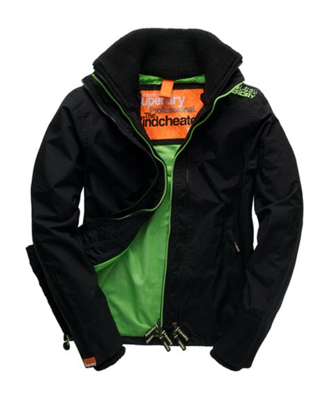mens technical windcheater in black fluro green superdry