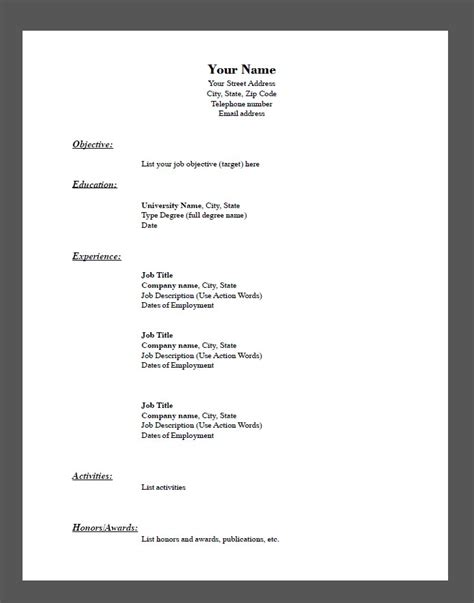 Fill In Resume Template Pdf