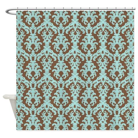 brown damask curtains turquoise and brown damask shower curtain by beachbumming