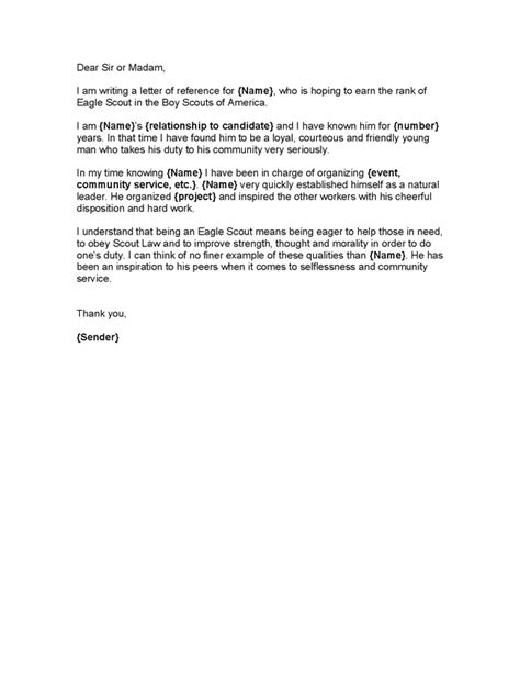 Recommendation Letter Template For Eagle Scout Eagle Scout Letter Of Recommendation Jvwithmenow