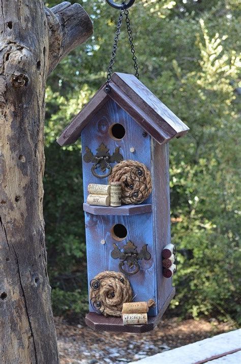 Handmade Bird House - condo birdhouse handmade rustic garden decorated bird