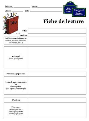 Modèle Fiche De Lecture