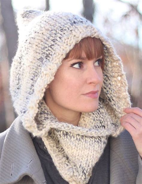 free cowl knitting patterns with bulky yarn free knitting pattern for easy hooded cowl cozy by