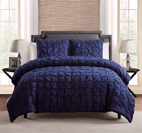 3 pc 100 cotton solid navy blue pinch pleat comforter set