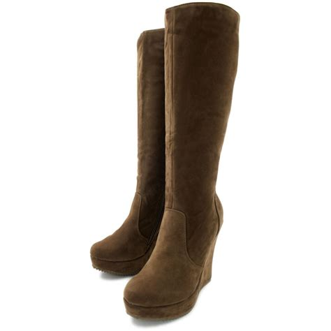 suede high boots buy liana wedge heel platform knee high boots brown