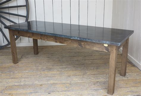handmade antiqued zinc kitchen table with waxed base