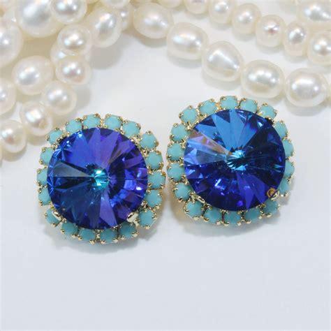 royal blue clip on earrings turquoise sapphire blue swarovski