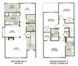 Floor Plans Two Story Homes by Modern Town House Two Story House Plans Three Bedrooms