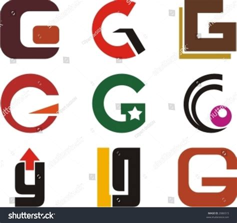 g t typography alphabetical logo design concepts letter g stock vector