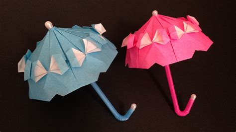 How To Make Origami Umbrella - origami umbrella with frill parasol 折り紙のフリル付き