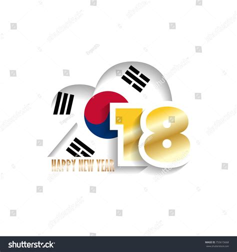 new year korea 2018 year 2018 korea flag pattern happy stock vector 755615668