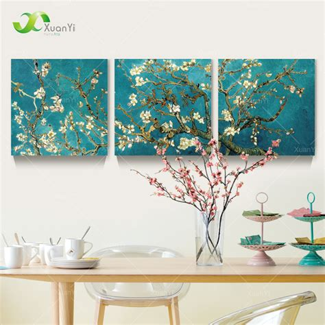 wall painting home decor 3 panel modern printed gogh flower tree painting picture canvas home decor wall pictures jpg