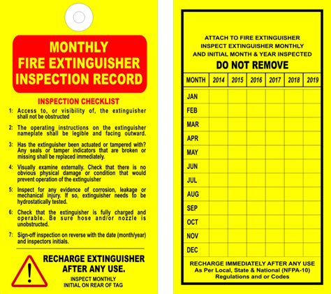 12 extinguisher monthly inspection tags valid