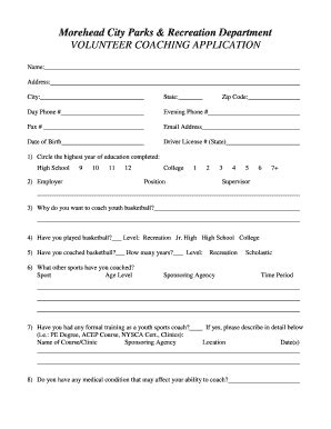 Volunteer Basketball Coach In Morehead City Nc Fill Online Printable Fillable Blank Pdffiller Coaching Application Form Template