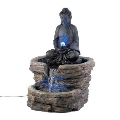 zen buddha serentiy lighted indoor outdoor fountain patio