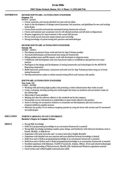 software automation engineer resume sles velvet
