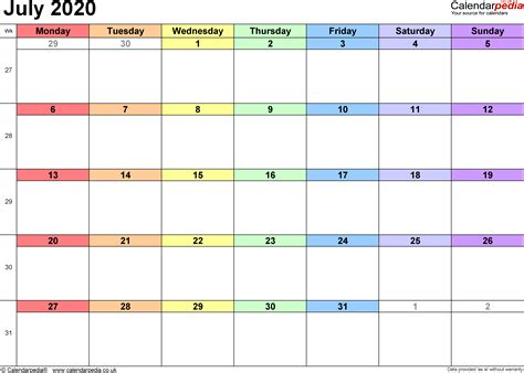 calendar july  uk bank holidays excelpdfword templates