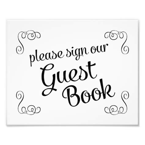 guest sign in book template sign our guest book wedding sign photo print zazzle