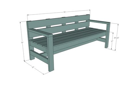 dimensions of bench ana white modern park bench diy projects