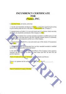 certificate of incumbency template printable sle certificate of incumbency form laywers
