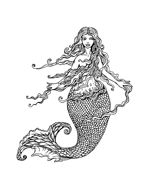 mermaid coloring pages  adults  coloring pages