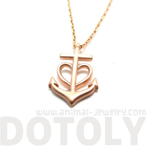 rose themed jewelry classic anchor and heart shaped charm necklace in rose