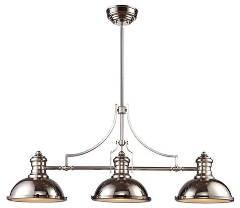 Transitional Island Lighting Elk Lighting 66115 3 Chadwick Transitional Island Light In Polished Nickel Transitional