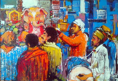 festival of painting colour of ganesh festivals painting by sachin kute