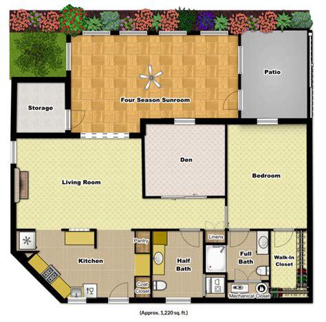 Apartment Floor Plans 1 Bedroom With Den One Bedroom Den Sunroom Foulkeways At Gwynedd